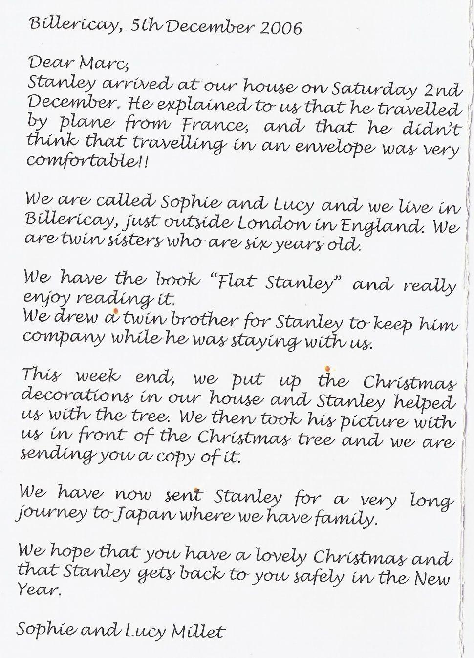 exemple de lettre a un ami en anglais